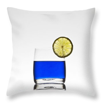 Blue Cocktail With Lemon Throw Pillow by Joana Kruse