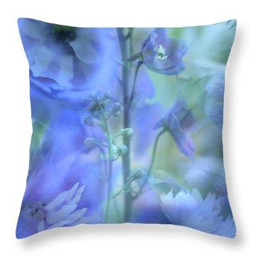 Blue Delphinium Throw Pillow by Bonnie Bruno