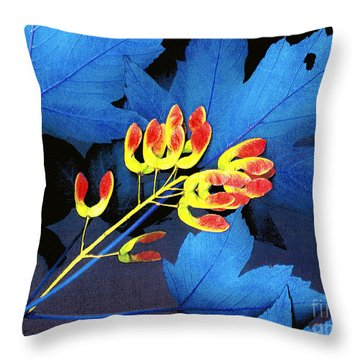 Blue Maple Leaf Throw Pillow