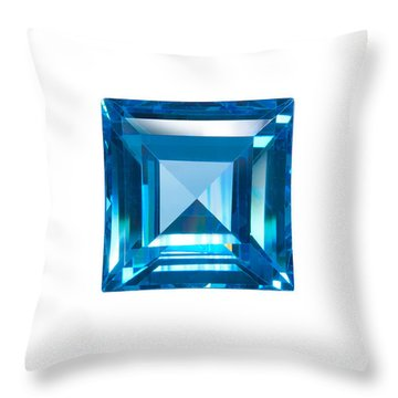 Blue Sapphire Isolated Throw Pillow by Atiketta Sangasaeng