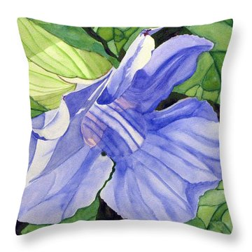 Blue Sky Vine Throw Pillow by Debi Singer