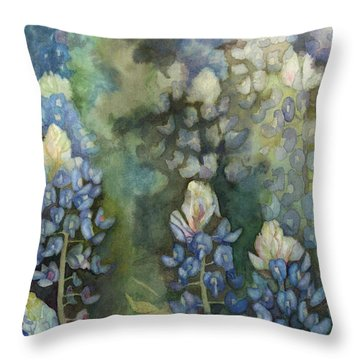 Throw Pillow featuring the painting Bluebonnet Blessing by Karen Kennedy Chatham