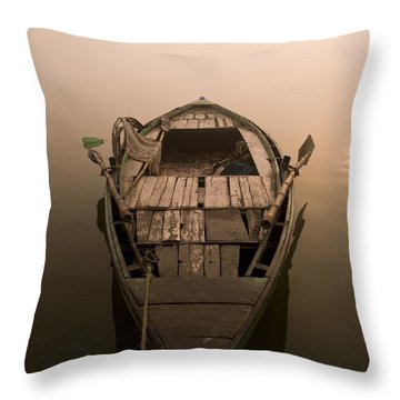 Boat In The Water, Varanasi, India Throw Pillow by Keith Levit