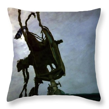 Boat Reflections In Oily Sea Throw Pillow by Stelios Kleanthous