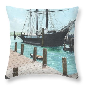 Boat With A History Throw Pillow by Stuart B Yaeger