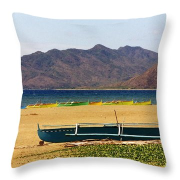 Boats On South China Sea Beach Throw Pillow