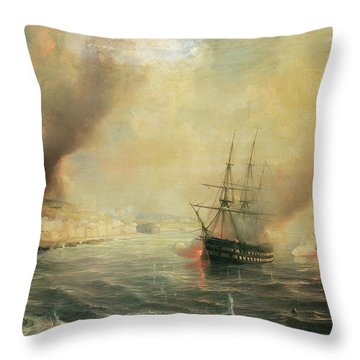 Bombardment Of Sale Throw Pillow by Jean Antoine Theodore Gudin