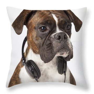 Boxer Dog With Headphones Throw Pillow by LJM Photo