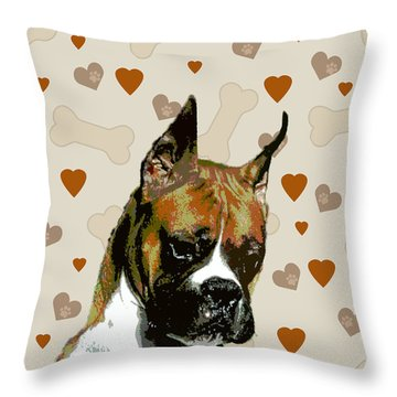 Boxer Throw Pillow by One Rude Dawg Orcutt
