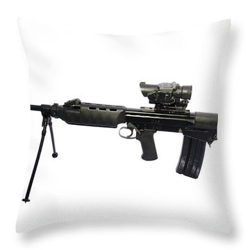 British Prototype 4.56mm Light Support Throw Pillow by Andrew Chittock