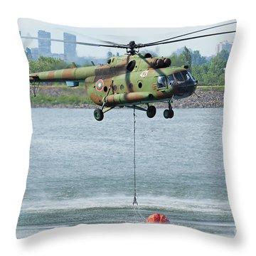 Bulgarian Air Force Mi-17 Taking Water Throw Pillow