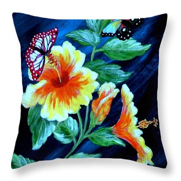 Butterflies And Blooms Throw Pillow