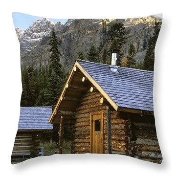 Cabin In Yoho National Park, Lake Throw Pillow by Ron Watts