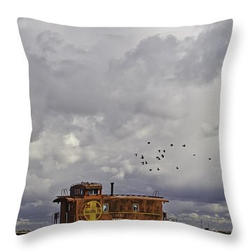 Caboose In A Cotton Field Throw Pillow