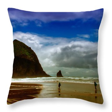 Cannon Beach At Dusk Throw Pillow by David Patterson