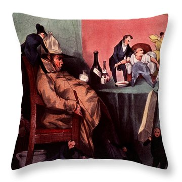 Caricature Of Hypochondriac, 1833 Throw Pillow by Science Source