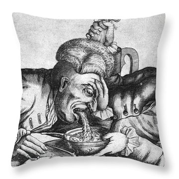 Caricature Of Two Alcoholics, 1773 Throw Pillow by Science Source
