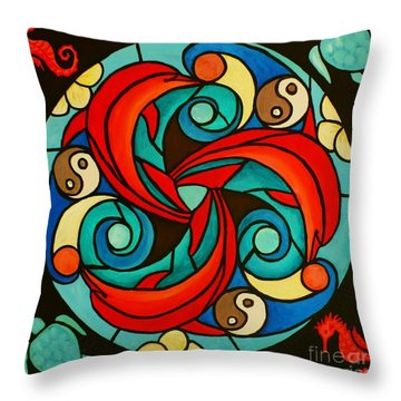 Celtic Dolphin Mandala Throw Pillow