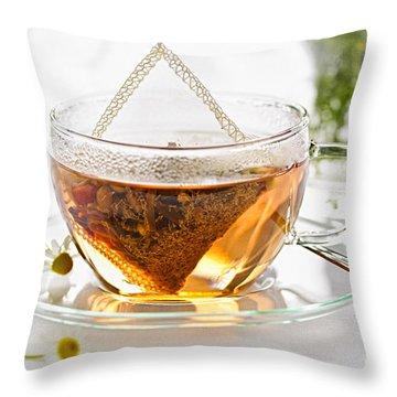 Chamomile Tea Throw Pillow by Elena Elisseeva