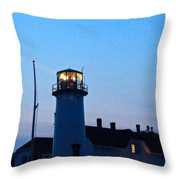 Chatham Light At Dusk  Throw Pillow by Justin Connor