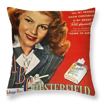 Chesterfield Cigarette Ad Throw Pillow by Granger