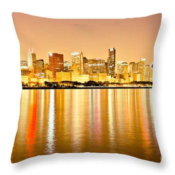 Chicago Skyline At Night Photo Throw Pillow by Paul Velgos