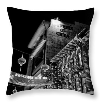 Chinatown At Night Throw Pillow by Tanya Harrison