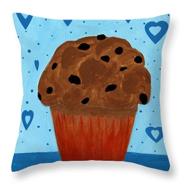 Chocolate Chip Cupcake Throw Pillow by Barbara Griffin