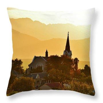 Throw Pillow featuring the photograph Church At Dusk by Werner Lehmann