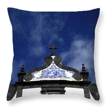 Church In Azores Islands Throw Pillow by Gaspar Avila
