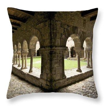 Cloister Of Lavaudieu. Haute Loire. Auvergne Throw Pillow by Bernard Jaubert