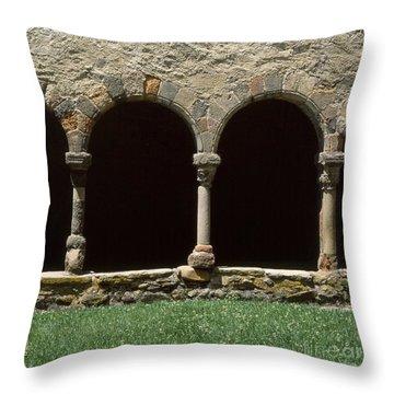 Cloister Of Lavaudieu. Haute Loire. Auvergne. France. Throw Pillow by Bernard Jaubert