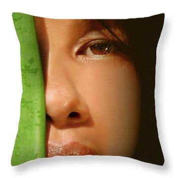 Close-up Of A Beautiful Asian Woman Throw Pillow by Sandra Cunningham
