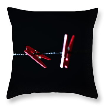 Cloth Pegs Throw Pillow by Joana Kruse