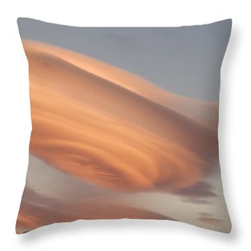 Clouds At Sunset Above Mountain Peaks Throw Pillow by Eryk Jaegermann
