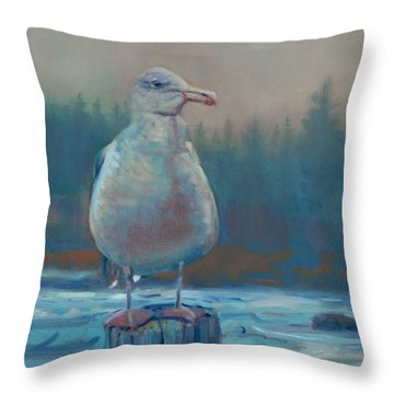 Throw Pillow featuring the painting Coastal Watch by Donald Maier