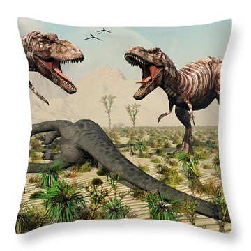 Confrontation Between A Pair Of T. Rex Throw Pillow by Mark Stevenson