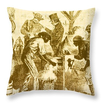 Cotton Gin, 19th Century Throw Pillow by Science Source