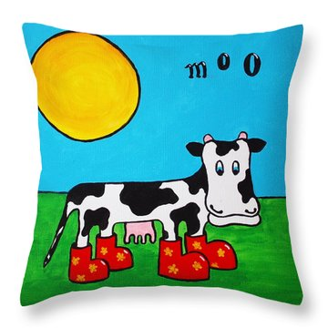 Cow Throw Pillow by Sheep McTavish