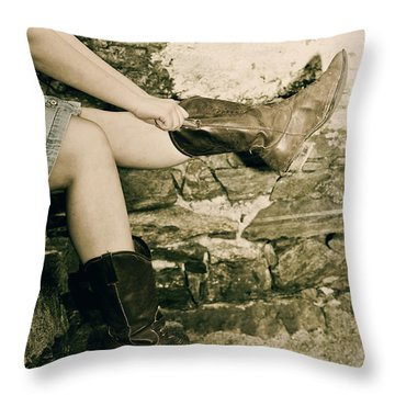 Cowboy Boots Throw Pillow by Joana Kruse