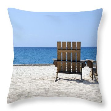 Throw Pillow featuring the photograph Cozumel Mexico Beach Chairs And Blue Skies by Shawn O'Brien