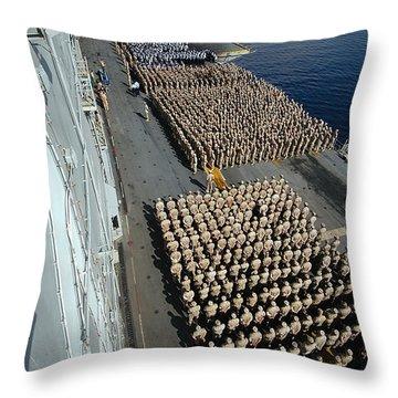 Crew Aboard The Amphibious Assault Ship Throw Pillow