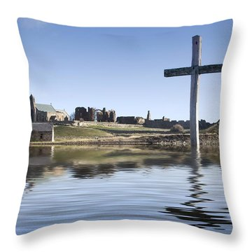 Cross In Water, Bewick, England Throw Pillow by John Short