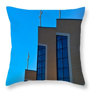Throw Pillow featuring the photograph Crosses Of Livingway Church by Ed Gleichman