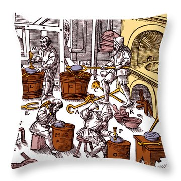 De Re Metallica, Metallurgy Workshop Throw Pillow by Science Source