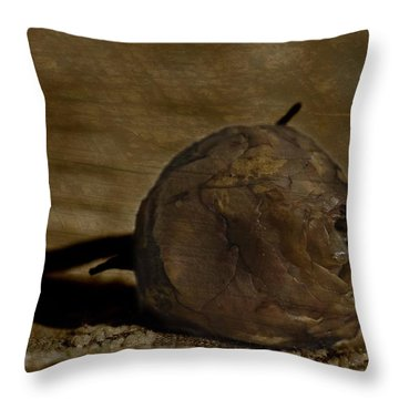 Throw Pillow featuring the photograph Dead Rosebud by Steve Purnell