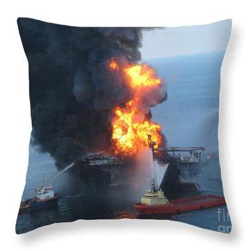 Deepwater Horizon Fire, April 21, 2010 Throw Pillow