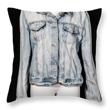 Denim Jacket Throw Pillow by Joana Kruse