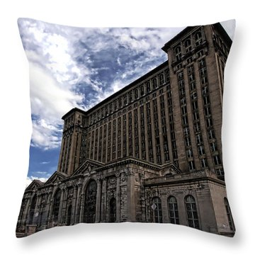 Detroit's Abandoned Michigan Central Station Throw Pillow by Gordon Dean II