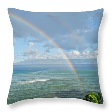 Double Rainbow In Maui Throw Pillow by Kirsten Giving